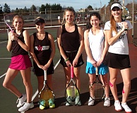 DAN BROOD - TIGER LEADERS -- Tigard's (from left) Hayden Huebner, Lexi O'Neal, Chloe Hogan, Delaney Shea and Maria Anderson should all play key roles for the Tiger girls tennis team this season.