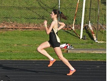 TIMES PHOTO: MATT SINGLEDECKER - Southridge junior Samantha Bowen won the 400-meter dash and the high jump against Westview on Thursday to help the Skyhawks take down the Wildcats.