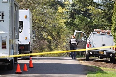 TIMES PHOTO: JAIME VALDEZ - Forensic investigators are analyzing a crime scene in Metzger after a 73-year-old man was found dead. Police are investigating the death as a homicide.