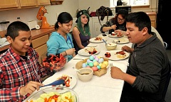 PAMPLIN MEDIA GROUP: VERN UYETAKE - The culinary arts students eat a family style lunch each day at school.