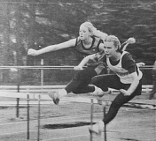 SPOTLIGHT ARCHIVES - St. Helens' Nora Burke (right) and Scappoose's Sherry Mattes (left) led the field in the high hurdles at the Lower Columbia Invitational meet on Saturday, April 29, 1995 in the 31st edition of the event.