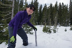 TRIBUNE PHOTO: JOHN M. VINCENT - It's not the snow depth thats most important as the Natural Resouces Conservation Service does its snow surveys, but rather the amount of stored water in the snow. Hydrologist Julie Koeberle first tests the snow depth and then weighs that snow to determine its water content. At the Mount Hood testing site, the latest survey showed 17 inches of stored water, compared to the average of 60 inches for the site.