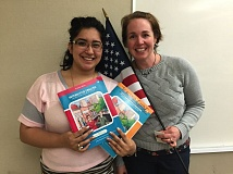 Valentina Galindo, Rachel Kimbrow inviting people to participate and learn English.