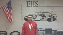CONTRIBUTED PHOTO - Estacada High School junior Deven Miller beams after winning a gold medal in diesel technology at the state SkillsUSA competition April 17-18 at Camp Withycombe in Clackamas.