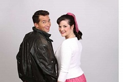 CRAIG MITCHELLDYER/BROADWAY ROSE THEATRE COMPANY - Peter Liptak and Kylie Clarke Johnson excel as high school students Danny and Sandy in 'Grease.'