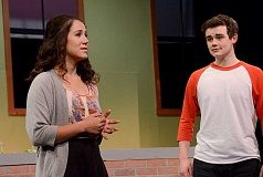 SPOKESMAN PHOTO: VERN UYETAKE - Olivia Klugman plays shy newcomer Gabriela Montez and Brock Taylor plays basketball star Troy Bolton in the WHS drama department's production of 'High School Musical,' opening at the school May 14.