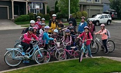 SUBMITTED PHOTO - The bike crew gathers before heading out to Eccles Elementary School as part of Bike To School Day.
