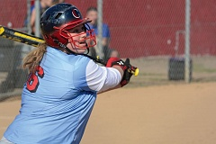 THE OUTLOOK: DAVID BALL - Centennials Samantha Cohen watches a hit sail into right field in the sixth inning Friday.