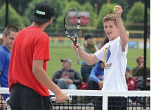 THE OUTLOOK: DAVID BALL - Barlows Chase West shares a smile after winning first-serve honors pre-match.