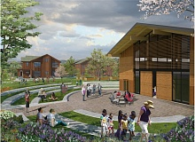 COURTESY: NATIVE AMERICAN YOUTH AND FAMILY CENTER - An artists rendering of the Generations project plaza. The 3.5-acre Lents site will feature multigenerational housing and early childhood programs.
