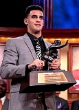 COURTESY OF THE DOWNTOWN ATHLETIC CLUB - The 2014 Heisman Trophy awarded to  University of Oregon QB Marcus Mariota will be displayed in early June at the Oregon Historical Society. (Mariota received one of the trophies and UO received a copy.)