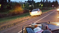OREGON STATE POLICE - Suspect vehcile stopped near the Stafford exit after Saturday's high speed chase.