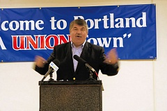 JOSEPH GALLIVAN - AFL-CIO President Richard Trumka was in Portland May 18 and gave a speech opposing fast-track of the Trans-Pacific Partnership. Trumka slammed Oregon pols who have backed the bill, and received a warm welcome at Oregon AFL-CIO headquarters in Southeast Portland.