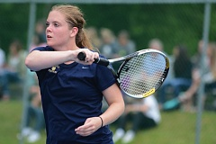 THE OUTLOOK: DAVID BALL - Barlow senior Ashley DuPuis sets up for a return during the first-round of doubles play Thursday.