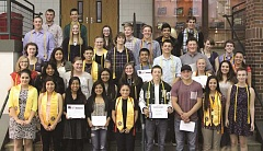 LINDSAY KEEFER - Thirty-six of the North Marion High School seniors honored last week pose for a photo.