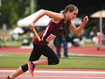 PAMPLIN MEDIA: DAVID BLAIR - Damascus Christians Elizabeth Leonity gets out of the blocks for the opening leg of Fridays 400-meter relay.
