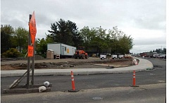BARBARA SHERMAN - This photo taken May 15 shows the new 99W northbound right-turn lane that drivers will use to turn east onto McDonald Street in Tigard, which is one of several parts of an Oregon Department of Transportation project to improve traffic flow.