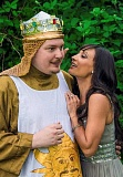 COURTESY PHOTO - Laurence Cox as King Arthur and Mila Boyd as Lady of the Lake take the stage as talented cast members of Hart Theatres Spamalot.