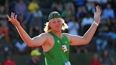 ANDY NELSON/THE REGISTER-GUARD - Sam Crouser of the Oregon Ducks reacts after a throw in the javelin Wednesday during the NCAA championships at Hayward Field.