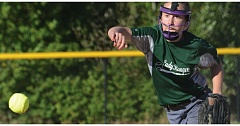 ESTACADA NEWS: DAVID BALL - Estacada pitcher Katelyn Dutton lets loose with a throw during Sundays 13-5 title game loss to the Canby Wildcats. She struck out six batters.
