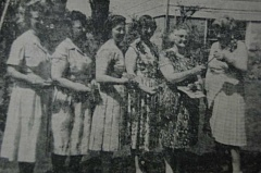 ARCHIVE PHOTO - Meet the Estacada Garden Club officers of 1965: (from left) Mrs. Lewis Pauli, treasurer; Mrs. Roy Rhoades, secretary; Mrs. George Ruhl, second vice president; Mrs. Ed. Richards, first vice president; Mrs. Art Youngberg, president; and presiding at the gavel is District Director Mrs. Guy Keller.