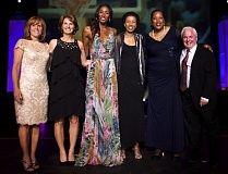 WOMENS BASKETBALL HALL OF FAME/MILE MAKER IMAGES - Longtime Oregon City High School girls basketball coach Brad Smith (far right) was honored earlier this month as an inductee into the Womens Basketball Hall of Fame. Smith is only the second person from Oregon to receive the honor. Pictured with Smith are the other members of the 2015 Induction Class (left to right) Shelley Budke (representing her late husband Kurt Budke), Gail Goestenkors, Lisa Leslie, Janeth Arcain and Janet Harris.