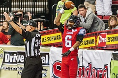 TRIBUNE PHOTO: CHRIS OERTELL - Portland Thunder wide receiver Jared Perry scored five touchdowns and caught 12 passes in Sundays 69-54 home loss to the Spokane Shock.