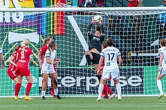 TRIBUNE PHOTO: CHRIS OERTELL - Michelle Betos makes a save for the Portland Thorns in last weeks match against FC Kansas City. Betos wound up saving the team by scoring in stoppage time for a 1-1 draw.