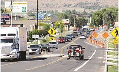 HOLLY M. GILL - U.S. Highway 97, on the south end of Madras, narrows to two lanes in front of Jefferson Square, as part of the Oregon Department of Transportation's Highway 97/J Street realignment project, which is expected to conclude by the end of October.