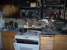 COURTESY OF COLUMBIA RIVER FIRE & RESCUE - A fire that scorched the inside of a residential kitchen in St. Helens and sent a man to the hospital Friday, June 26, left cabinets and appliances with significant damage.