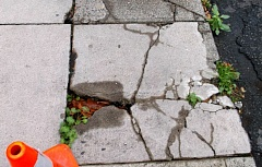 COURTESY OF THE CITY OF ST. HELENS - The sidewalk repair program is intended to get cracked and broken sidewalks in St. Helens, such as this one, fixed and finished to the city's engineering standards this summer.