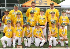 SUBMITTED - Putnam players and coaches pose proudly with their fourth-place hardware from the recent Midget National State Championship Tournament. Pictured are: (first row, left to right) Owen Lundgren, Noah Perkins, Tucker Buchanan, Ryder Fritz, Konnor Bickford and Parker Read; (second row) Justus Barnett, Riley Fritz, Luke Sandness, Jace Eveland, Mason Eads and Joseph Battaglia; and (back) head coach Andy Lundgren, coach Mike Read and coach David Eads.