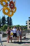 SUBMITTED PHOTO:  - The Skip ONeill family, from left, Katie, Lynda, Skip, Lauren and Kelly, purchased the sculpture Sunflower earlier this summer and donated it back to the Gallery Without Walls. It is now part of the citys permanent collection.