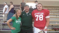 COURTESY OF DOUG BILODEAU - From left, North Marion cheer coach Ashley Murray, North Marion football coach Doug Bilodeau and Jordan Kendall at the 2015 Oregon East West Shrine Game.