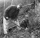 COURTESY PHOTO: MAXINE LEACH - This photo from 1959 shows Boy Scout Mike Leach and his father Carl Leach from Portland replanting an area of the Tillamook Burn just past the summit of Highway 6 near the north fork of the Wilson River.