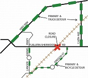 COURTESY OF WASHINGTON COUNTY LAND USE AND TRANSPORTATION - Those planning to travel on Tualatin-Sherwood Road Friday at the train crossing near Oregon Street will be detoured. An alternative route includes 124th Avenue, Oregon Street and Langer Farms Parkway (all shown in green).