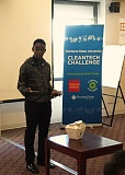 COURTESY OF PSU  - Catlin Gable student Ben Kitoku explains his invention, a compostable compost container. He's one of the finalists in the 2015 Cleantech Challenge.