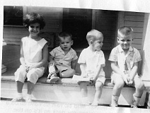 SUBMITTED PHOTO - This picture was taken during the vacation in 1960 that JoAnn Parsons remembers so well. Notice daughter Betsys cheeks swollen from the mumps. To her left are two cousins and brother Johnny, all of whom came down with the mumps.