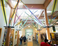 NEWS-TIMES FILE PHOTO - The Forest Grove Library Foundation fundraises for projects like Mollies Garden, a glass art installation highlighted by the skylight.