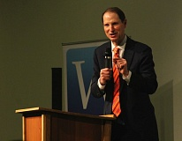 PMG PHOTO: JOHN SCHRAG - Sen. Ron Wyden, D-Ore., speaks to an audience of business and government officials during a Westside Economic Alliance breakfast forum Thursday morning.