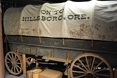 HILLSBORO TRIBUNE PHOTOS: KATHY FULLER - Visitors to the Washington County Museum will see the outside a covered wagon that traversed the Oregon Trail during the 1959 Centennial On to Oregon Cavalcade.