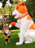 REVIEW PHOTOS: VERN UYETAKE - An appropriately dressed Olivia Jorgensen of West Linn checks out a large inflatable dog provided by Banfield Pet Hospital at Sundays pet parade.