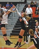JOHN BREWINGTON - Scappoose's Kamryn Erickson nearly slips the ball past a Valley Catholic defender during last week's match. The Lady Indians lost one of the match 28-30. They came back to beat Astoria on Tuesday.