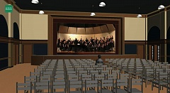 SUBMITTED PHOTO - The revamped Multnomah Arts Center auditorium, shown here in a rendering, will have new lighting and sound systems, as well as fresh paint and restored wood floors.