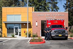 TIMES PHOTO: JONATHAN HOUSE - Capt. Patrick Fale (right) and firefighter paramedic Will Coker will help keep Raleigh Hills and West Slope neighborhoods safe from Tualatin Valley Fire & Rescue's new Station 70. It opens Oct. 1.