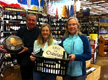 STAFF PHOTO: BARB RANDALL - From left, Ron Bronleewe, Lauren Dole and Susan Schrader encourage all to attend the CureSearch benefit wine and cheese tasing at Lambs Natures Choice Market Oct. 9.