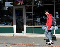 SPOKESMAN PHOTO: JAKE BARTMAN - Although most penalties for offenses identified by the City Code are to be reduced from misdemeanors to violations, it remains a Class A misdemeanor to damage Town Center property by skateboarding.