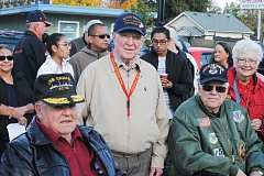 NEWS-TIMES PHOTOS: STEPHANIE HAUGEN - Washington County veterans gathered last Wednesday, Nov. 11, for a ceremony in Cornelius that honored those who have served the U.S. in the military. Adam Bachmann (left) is a Cornelius resident who served in the U.S. Navy during World War II.