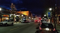 PHOTO COURTESY: LAUREN DEES - Downtown Oregon City shows off its holiday lights each evening this time of year.