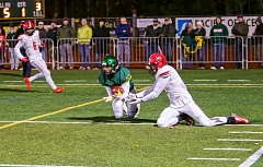 BRAD CANTOR - West Linn's Jaydon Grant picks off an Oregon City pass at the one-yard line in the first quarter of Friday's 34-13 win over the Pioneers. It was the first of four interceptions for the West Linn defense.